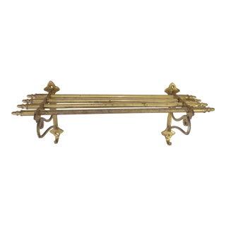 Vintage Traditional Brass Hook and Shelf Bracket For Sale