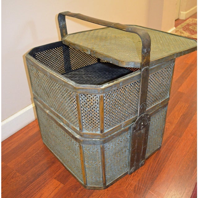 Green Woven Rattan Basket Side Table For Sale - Image 5 of 6