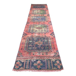 1970s Vintage Turkish Oushak Pastel Runner- 2′5″ × 11′6″ For Sale