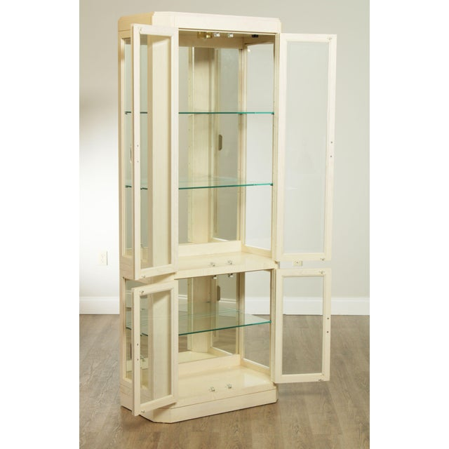 Wood American Of Martinsville Modern Pair Lighted Curio Display Cabinets For Sale - Image 7 of 13