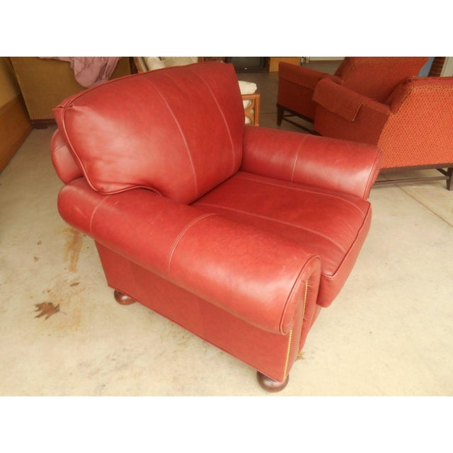 Whittemore-Sherrill Red Leather Lounge Chair - Image 3 of 6
