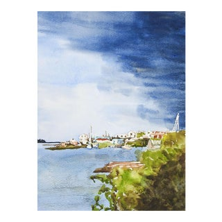 Harbor Scene & Storm Watercolor Painting For Sale