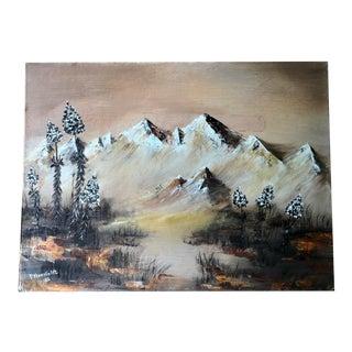 Vintage Original Landscape Painting on Canvas Panel For Sale