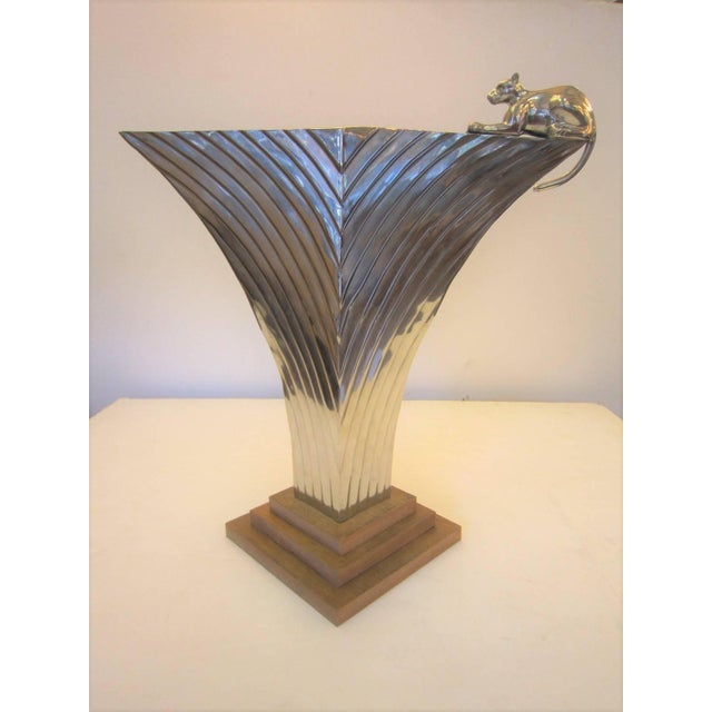 Large Art Deco Revival Fluted Nickeled Brass Vase With Panther For Sale In New York - Image 6 of 13