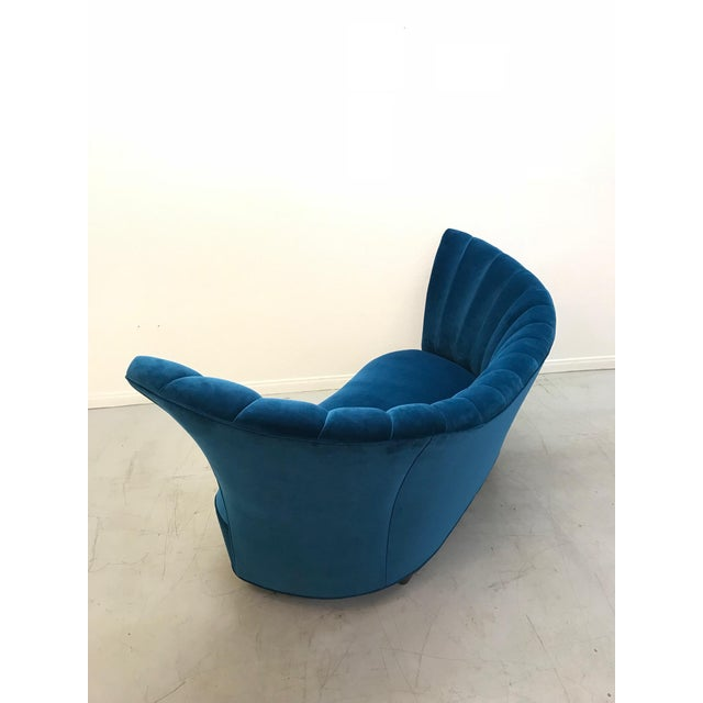 Art Deco 1960s Art Deco Asymmetrical Blue Upholstereed Channel Back Sofa For Sale - Image 3 of 9