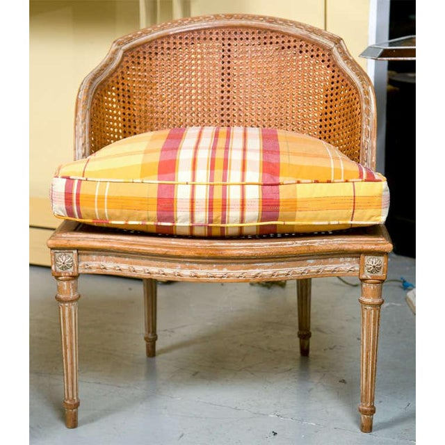 French Louis XVI Style Duchesse Brisee by Jansen 1940s Distress Painted Frame For Sale - Image 5 of 8