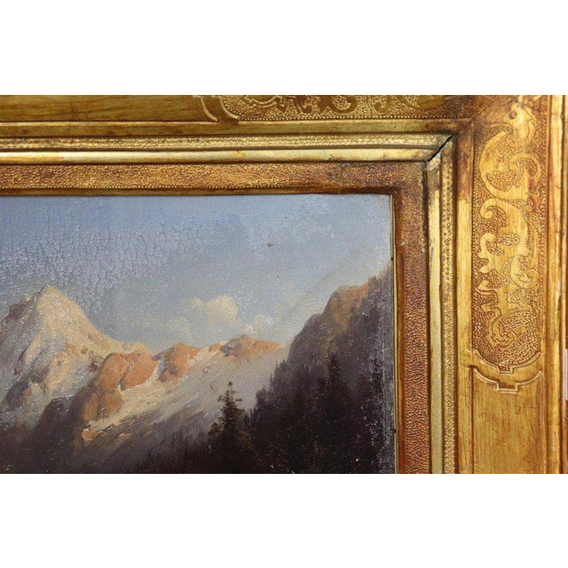 Beautiful oil painting on high quality pictorial cardboard, mountain landscape, 1920s. The pictorial hand is excellent, it...
