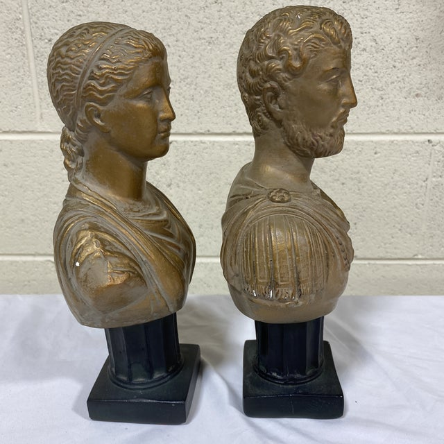 1960s Vintage Neoclassical Chalk Ware Gold Leaf Busts - a Pair For Sale - Image 5 of 12