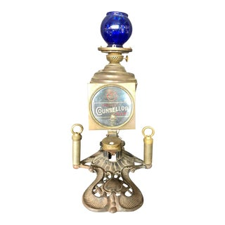 Cressman's Counsellor Cigar Lighter and Lamp With Blue Glass Globe For Sale