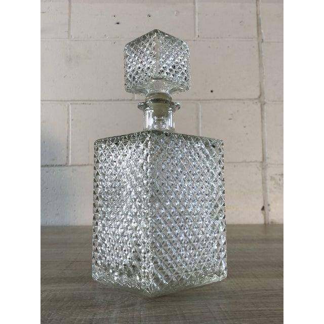 1960s Vintage Diamond Point Glass Decanter For Sale - Image 5 of 10