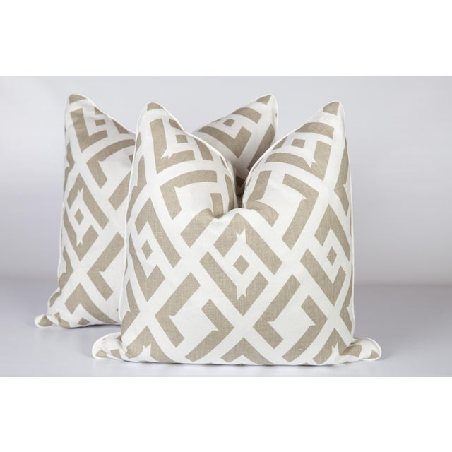 Dune China Club Linen Pillows - A Pair For Sale - Image 4 of 4