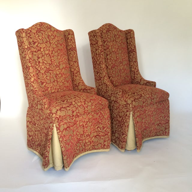 Red & Gold Brocade Dining Chairs - A Pair - Image 2 of 8