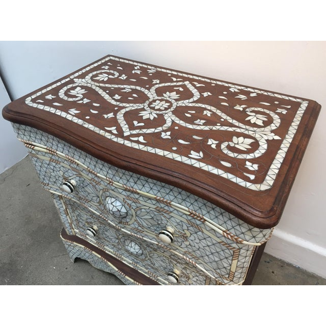 Syrian Middle Eastern White Mother-Of-Pearl Inlay Wedding Dresser For Sale In Los Angeles - Image 6 of 12
