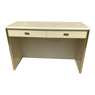 1970s High Gloss Lacquer & Brass Desk For Sale