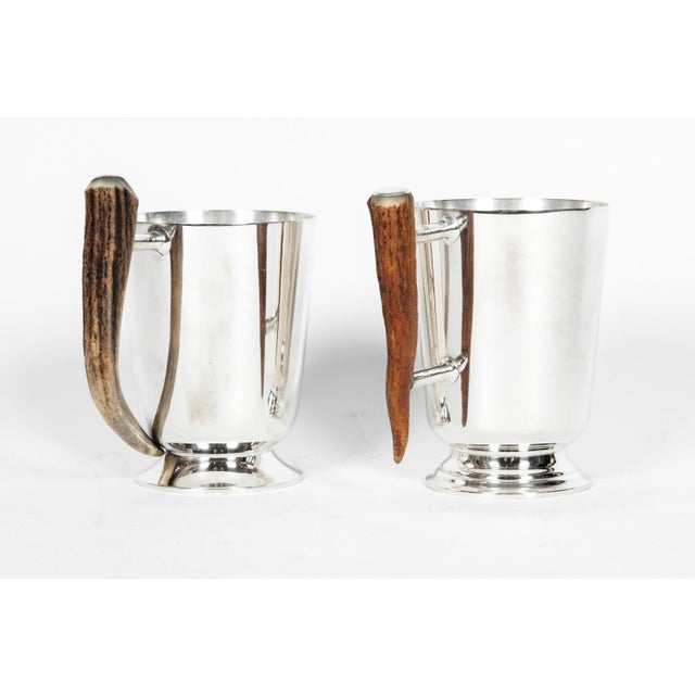 Vintage pair of silver plate mug with horn side handle. The mug is in excellent condition, maker's mark undersigned and...