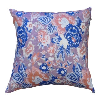 Boho Chic Floral Blue & Lilac Pillow For Sale