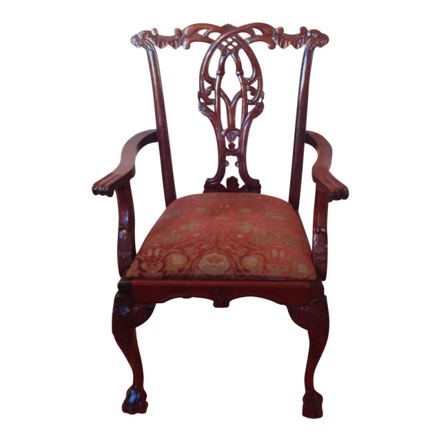 Chippendale Mahogany Arm Chair For Sale