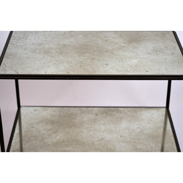 Black 'Rectiligne' Mirrored End Tables by Design Frères - a Pair For Sale - Image 8 of 9
