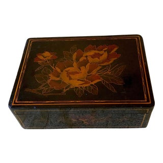 1940s Vintage Art Deco Lacquered Decorative Box For Sale
