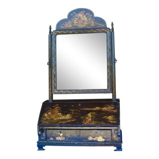 19th Century English Chinoiserie Miniature Desk With Mirror For Sale
