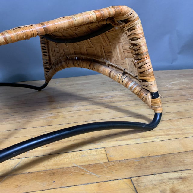 Continental Woven Cane and Blackened Steel Lounge Chair For Sale - Image 9 of 12
