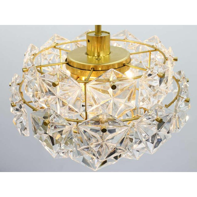 Crystal Kinkeldey Crystal Glass Chandelier Gilded Metal, 1960s For Sale - Image 7 of 9