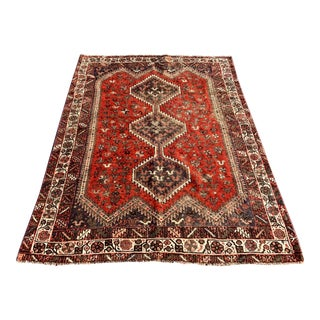 "1930's Vintage Persian Shiraz Thick & Soft Area Rug - 4'11"" x 6'6"" For Sale"