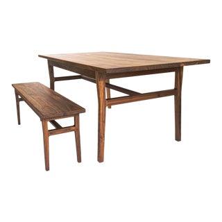 Shaker Laurel Walnut Shaker Modern Table & Bench Dining Set - 2 Pieces For Sale