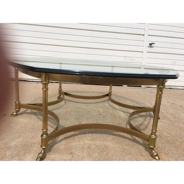 Labarge Glass Top Brass Hoof Foot Coffee Table Chairish