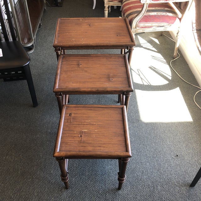 Animal Skin Bamboo Nesting Tables, Set of Three For Sale - Image 7 of 9