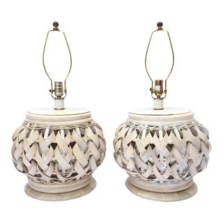 Woven Wide Rattan Table Lamps - A Pair