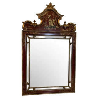 1970s Vintage Drexel Chinoiserie Hand Painted and Giltwood Mirror For Sale