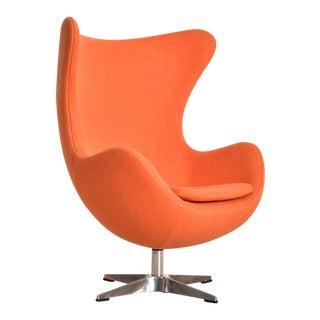 Modern Tangerine Orange Swivel Chair For Sale