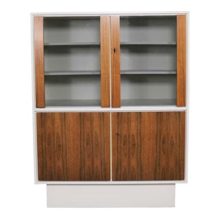 Mid Century Modern Scandinavian Style China Display Cabinet W/ White Case & Teak Front For Sale