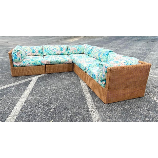 Coastal Vintage Coastal Woven Rattan Printed Sectional For Sale - Image 3 of 13