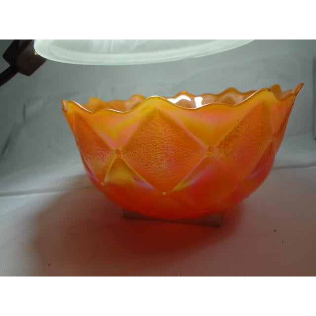Gold Mid 20th Century Marigold Color Carnival Iridescent Glass Bowl For Sale - Image 8 of 13
