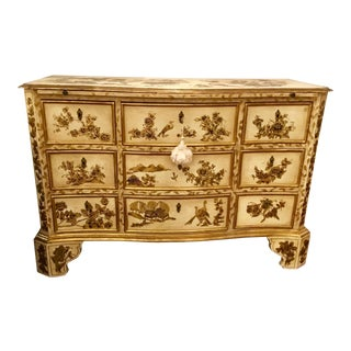 Vintage Cream Chinoiserie Painted Chest For Sale