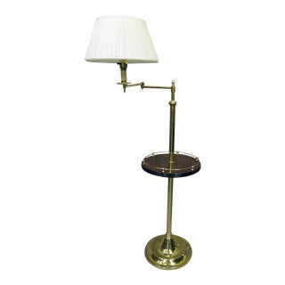 Mid-Century English Brass Floor Lamp With Mahogany Reeded Shelf For Sale