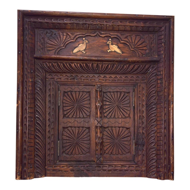 Vintage Afghan Carved Wooden Wall Shutters & Mirror For Sale - Image 4 of 7
