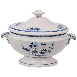 Blue and White Soup Tureen From Tournai, Belgium For Sale