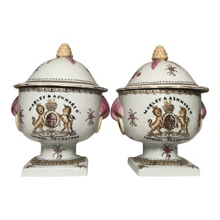 Chinese Footed and Lidded Rose Jars - a Pair