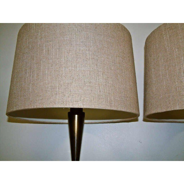 Metal Bronze and Primavera Finish Wood Base Lamps - A Pair For Sale - Image 7 of 8