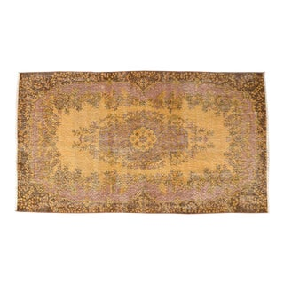 Contemporary Turkish Hand Knotted Rug Porsche Overdyed Area Rug - 3′10″ X 6′8″ For Sale