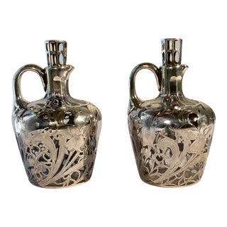 Antique Art Nouveau Decanters With Silver Overlay - a Pair For Sale