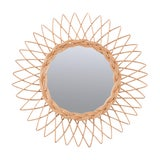 Image of Vintage English Rattan Sunburst Mirror For Sale