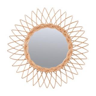Vintage English Rattan Sunburst Mirror For Sale