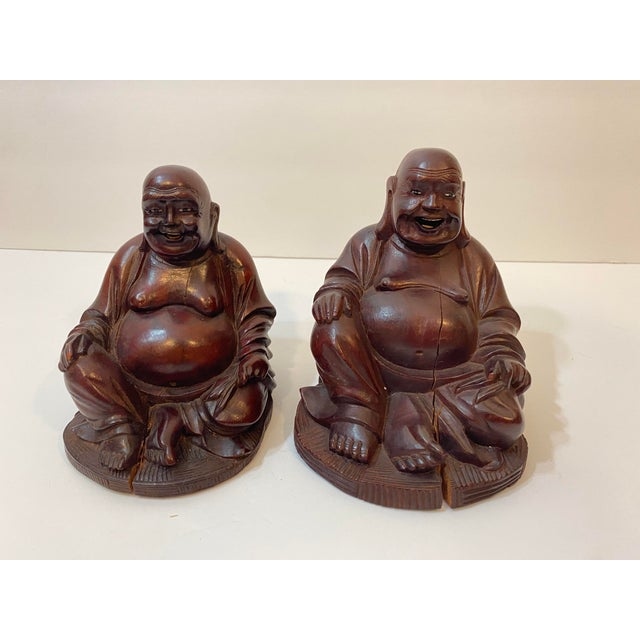 Mid 20th Century Vintage Chinese Hand Carved Bamboo Buddha Figurines - Pair For Sale - Image 5 of 12