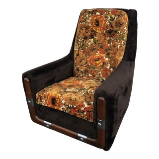 Mid Century Brown and Floral Swivel Chair For Sale