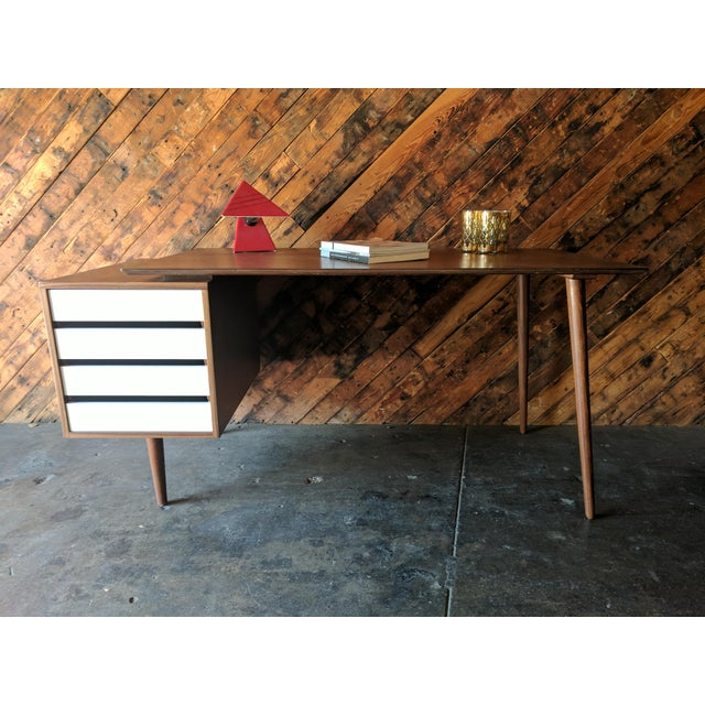 Custom Large Mid Century Style Walnut Desk For Sale - Image 11 of 11