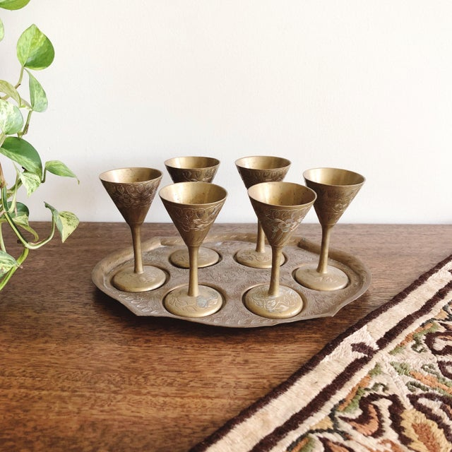 Vintage Indian Brass Cordial Set of 6 Mini Goblets and Tray For Sale In Austin - Image 6 of 6